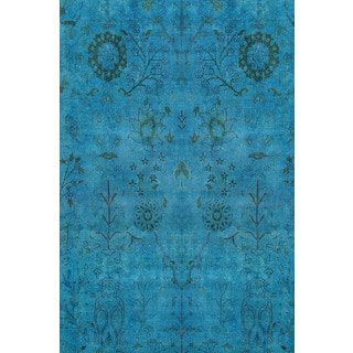 Hand-knotted Overdyed Aqua Breeze Rug 12254 (12x15)