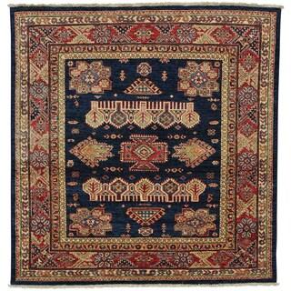 Handmade Square Navy Blue Super Kazak Oriental Rug (5'1 x 5'2)