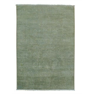 Handmade Light Green Overdyed Peshawar Oriental Rug (4'1 x 6')