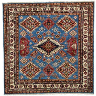 Handmade Square Super Kazak Oriental Tribal Design Rug (6'1 x 6'1)
