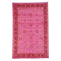 Handmade Overdyed Peshawar Pink Cast Oriental Rug - 6' x 9'2