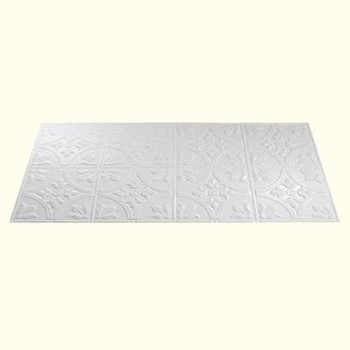 Fasade Traditional Style #2 Gloss White 2 ft. x 4. ft Glue-up Ceiling Tile