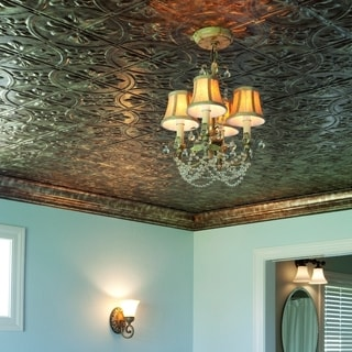 Fasade Traditional Style #2 Bermuda Bronze 2 ft. x 4. ft Glue-up Ceiling Tile