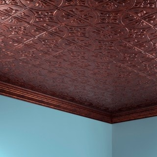 Fasade Traditional Style #2 Moonstone Copper 2 ft. x 4. ft Glue-up Ceiling Tile