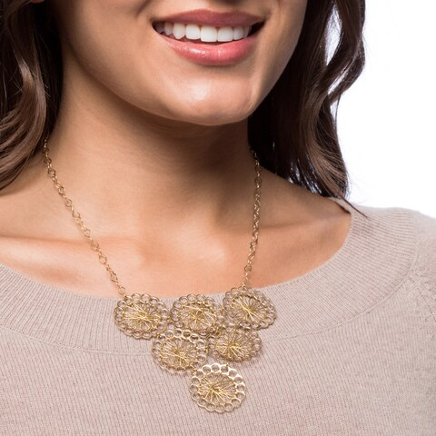 Handmade Gold-Plated Brass Wire Wrapped Six Circles Necklace (Brazil)
