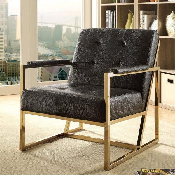 Furniture of America Huntress Crocodile Leatherette Tufted Arm Chair