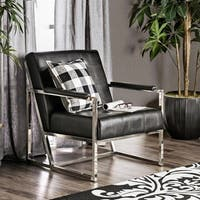 Furniture of America Huntress Crocodile Leatherette Tufted Arm Chair