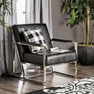 Furniture of America Huntress Crocodile Leatherette Tufted Arm Chair (2 options available)