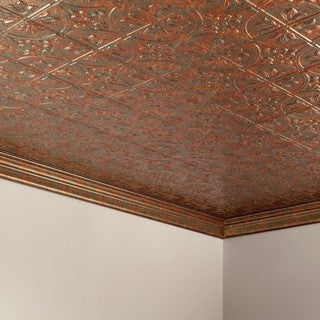 Fasade Traditional Style #2 Copper Fantasy 2 ft. x 4. ft Glue-up Ceiling Tile