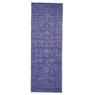 Handmade Wide Runner Peshawar Overdyed Oriental Rug (4'1 x 11'10)