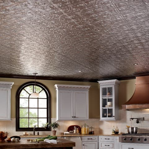 Fasade Traditional Style #2 Crosshatch Silver 2 ft. x 4. ft Glue-up Ceiling Tile