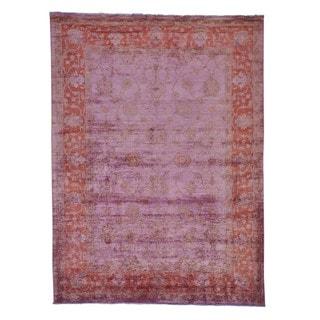 Handmade Overdyed Peshawar Oriental Rug (7' x 9'5)