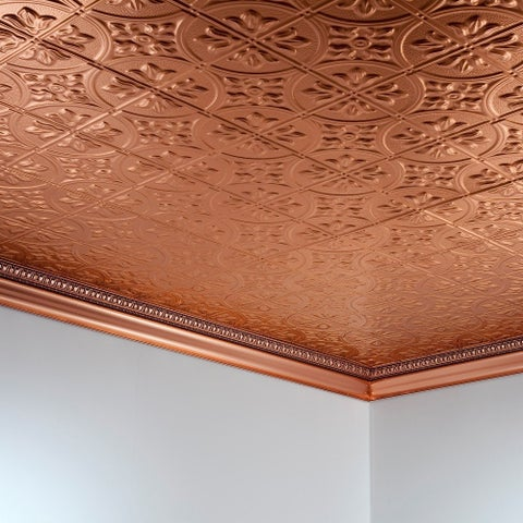Fasade Traditional Style #2 Polished Copper 2 ft. x 4. ft Glue-up Ceiling Tile