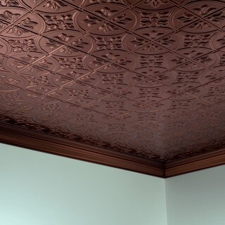 Fasade Traditional Style #2 Oil Rubbed Bronze 2 ft. x 4. ft Glue-up Ceiling Tile