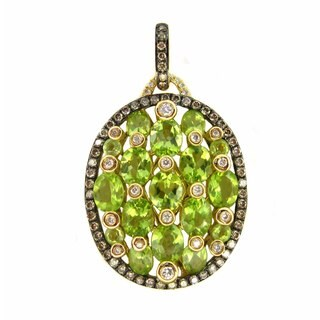 Kabella 18k Yellow Gold Peridot and Diamonds Pendant Necklace