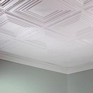 Fasade Traditional Style #3 Gloss White 2 ft. x 4 ft. Glue-up Ceiling Tile https://ak1.ostkcdn.com/images/products/10378970/P17484585.jpg?_ostk_perf_=percv&impolicy=medium