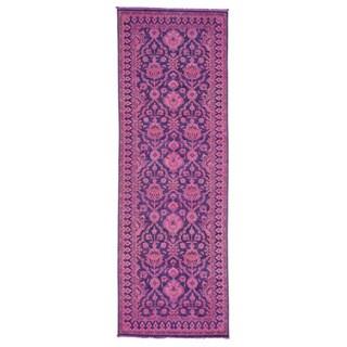 Handmade Wide Runner Pink Overdyed Peshawar Oriental Rug (4'1 x 12'1)