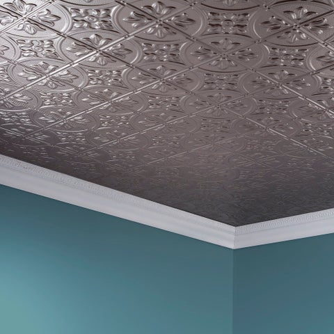 Fasade Traditional Style #2 Brushed Nickel 2 ft. x 4. ft Glue-up Ceiling Tile
