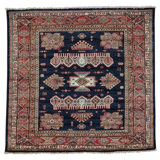 Handmade Square Super Kazak Tribal Design Navy Blue Oriental Rug (4'9 x 5')