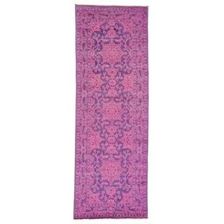 Handmade Wide Runner Overdyed Peshawar Oriental Rug (4'2 x 11'10)