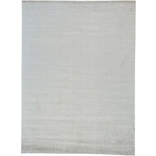 Handmade Viscose Rayon from Bamboo Modern Tone on Tone Oriental Rug (8'9 x 11'9)