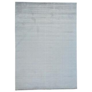 Handmade Tone on Tone Oriental Rayon from Bamboo Silk Modern Rug (9'10 x 14')