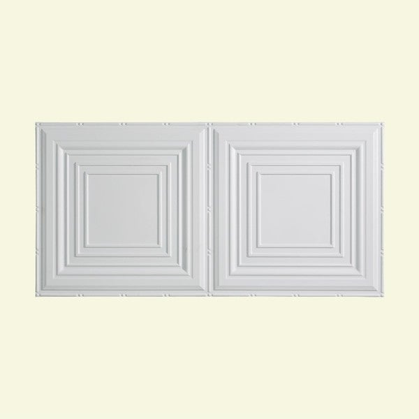 Fasade Traditional Style #3 Matte White 2 ft. x 4 ft. Glue-up Ceiling Tile - Free Shipping On ...