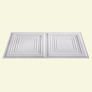 Fasade Traditional Style #3 Matte White 2 ft. x 4 ft. Glue-up Ceiling Tile
