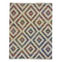 Handmade Duri Kilim Hand-woven Cotton Sari Silk Oriental Rug (8' x 10'3)
