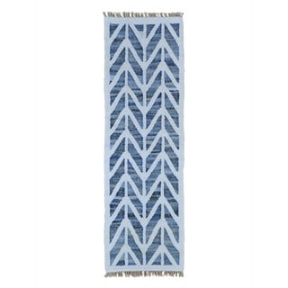 Handmade Runner Durie Kilim Denim Jeans Hand-woven Oriental Rug (2'6 x 8'2)