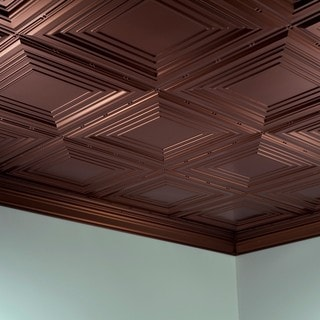 Fasade Traditional Style #3 Oil Rubbed Bronze 2 ft. x 4 ft. Glue-up Ceiling Tile