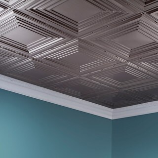 Fasade Traditional Style #3 Brushed Nickel 2 ft. x 4 ft. Glue-up Ceiling Tile