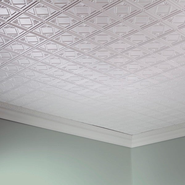 Ceiling Tiles Fasade Traditional Style 4 Gloss White 2 Ft X Glue