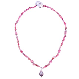 Rhodium over Silver Tahitian Pearl Drop and Pink Tourmaline 20-inch Necklace (12-13mm)