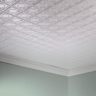 Fasade Traditional Style #4 Matte White 2 ft. x 4 ft. Glue-up Ceiling Tile