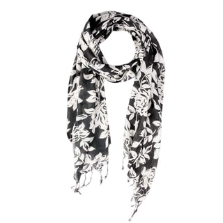 Saachi Women's White and Black Floral Scarf (India)