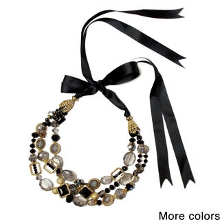 Saachi Triple Strand Beaded Ribbon Necklace (China)