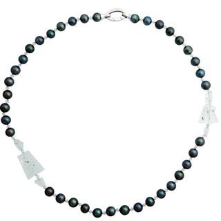 "Tahitian Cultured Pearl (10-11mm) & Aquamarine, 28.5"" Necklace"