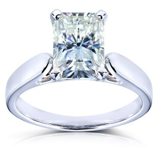 Annello by Kobelli 14k White Gold 1 4/5ct Moissanite (HI) Radiant Cut Solitaire Engagement Ring