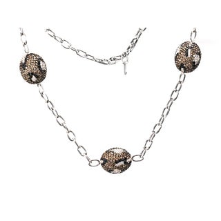 Estie G 18k White Gold 21 3/4ct TDW Black Brown and White Diamond Necklace (H-I, VS1-VS2)