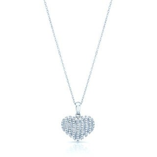 Estie G 18k White Gold 1/4ct TDW Diamond Heart Pendant (H-I, VS1-VS2)