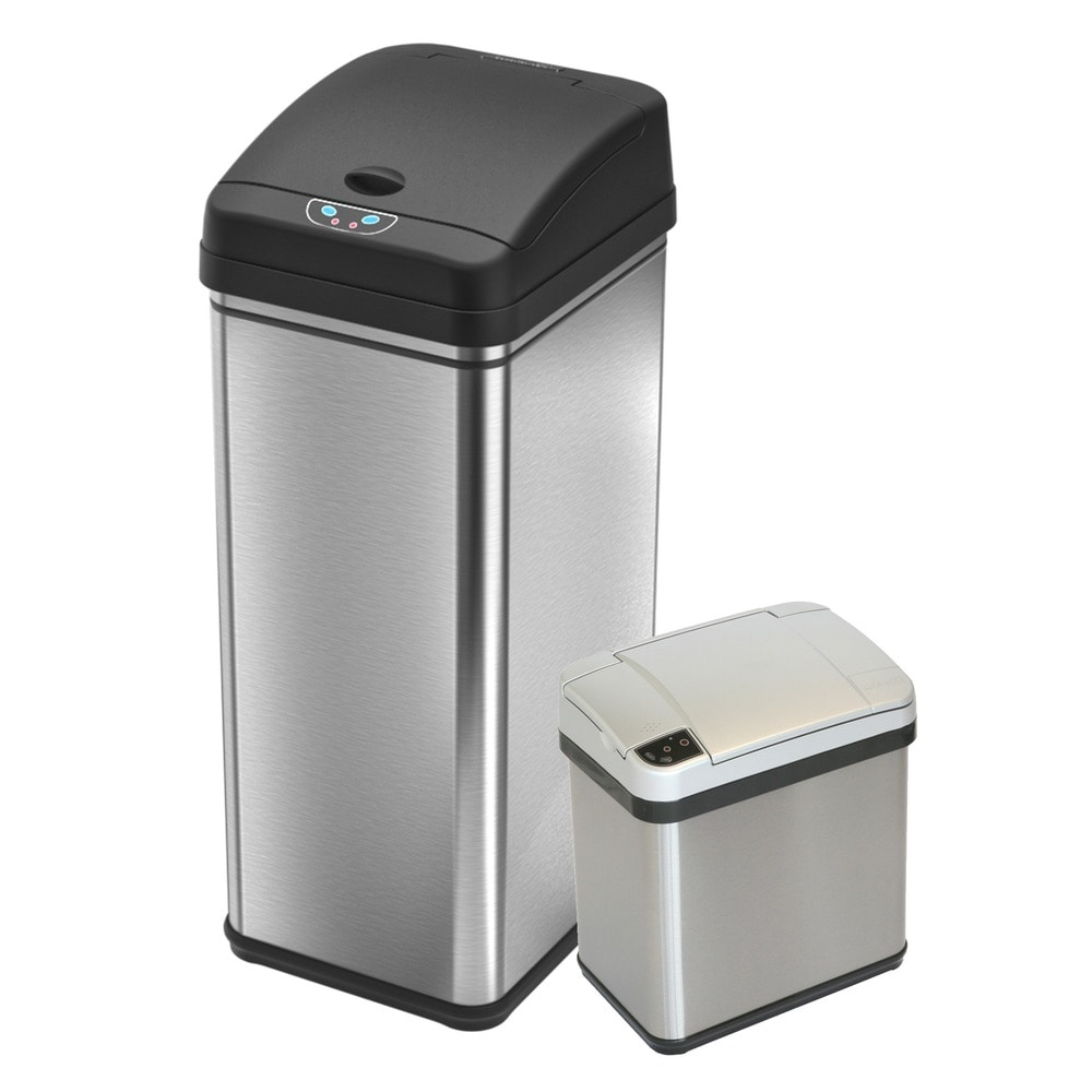 Itouchless 13 Gal And 2 5 Gal Deodorizer Sensor Touchless Stainless Steel Trash Can Combo Overstock 10379223