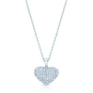 Estie G 18k White Gold 1/2ct TDW Diamond Heart Pendant (H-I, VS1-VS2)