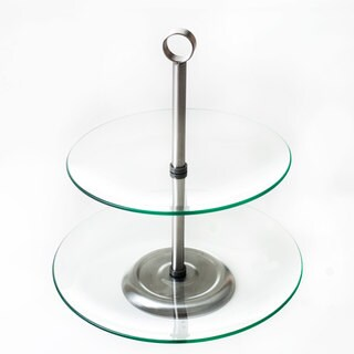 Chef Buddy Two Tier Round Glass Buffet and Dessert Stand