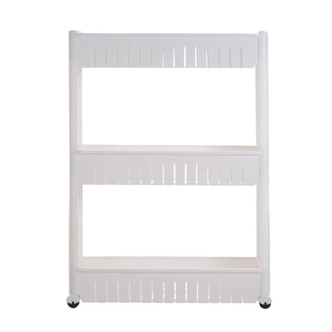 Mobile Shelving Unit Organizer with 3 Large Storage Baskets by Everyday Home