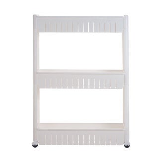 Chef Buddy Everyday Home White Mobile Shelving Unit Organizer with 3 Large Storage Baskets