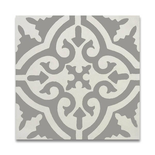Argana in White and Grey Handmade 8x8-in Moroccan Tile (Pack 12)