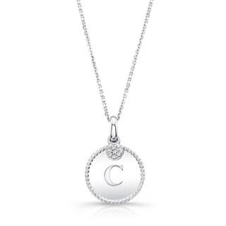 14k White Gold Diamond Accent 'C' Initial Pendant