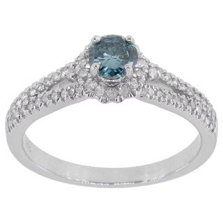 14k White Gold 5/8ct TDW Blue and White Diamond Engagement Ring