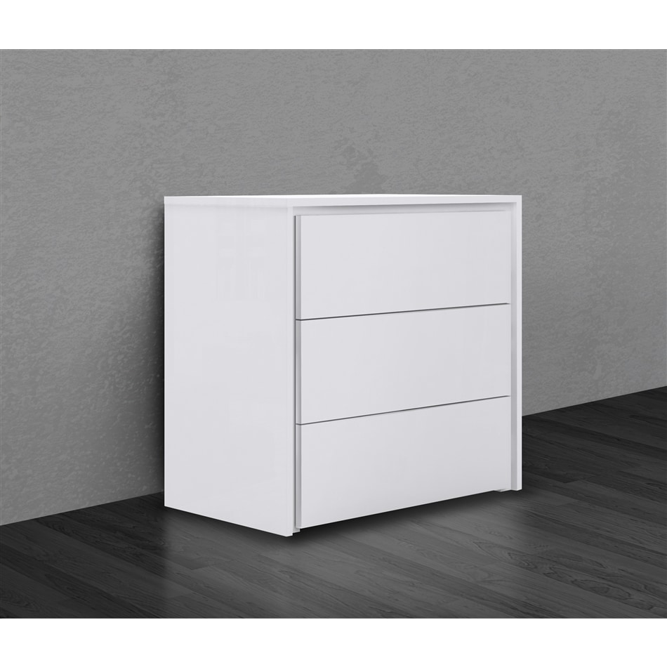 Zen Collection High Gloss White Lacquer Tall Dresser Nightstand By Casabianca Home